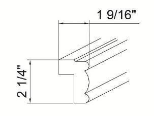 Cabinets, GHI Regal Oak GHI Regal Oak Light Rail Molding 1-9/16W X 2-1/4H
