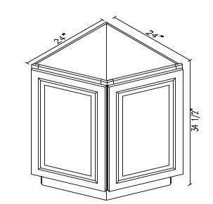 Cabinets, Forevermark Rio Vista White Shaker Forevermark Ice White Shaker Angle Base Cabinet 24W X 34-1/2H