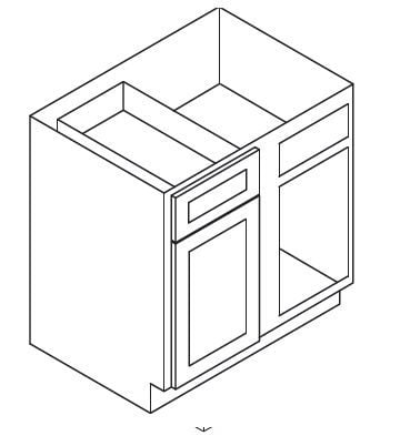 Cabinets, Forevermark Rio Vista White Shaker Forevermark Ice White Shaker Base Blind Corner Cabinet 36W X 34-1/2H