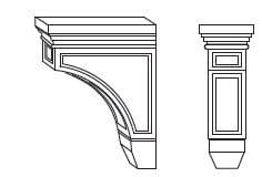 Cabinets, Forevermark Greystone Shaker Forevermark Greystone Shaker Corbels & Appliques 3W X 9H