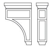 Cabinets, Forevermark Lait Grey Shaker Forevermark Greystone Shaker Corbels & Appliques 3-1/2W X 12-1/2H