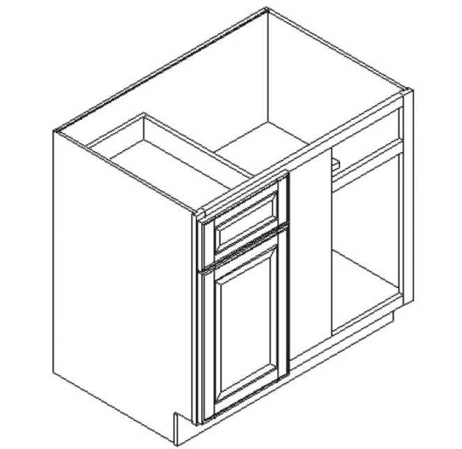 Cabinets, Feather Lodge Newport White Feather Lodge Newport White Base Blind Corner Cabinet 42W X 34-1/2H