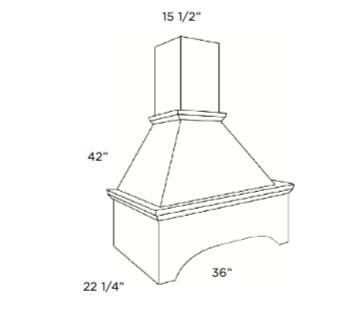 Cabinets, Cubitac Dover Cafe Range-Hood-Arched-RHA3642