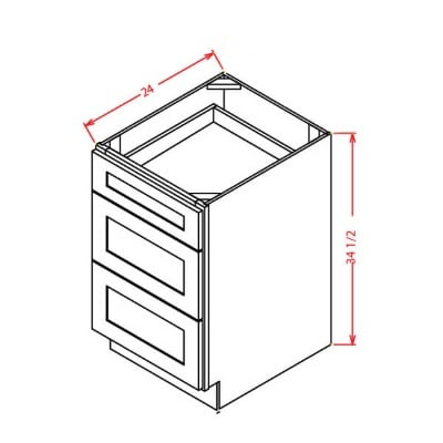 Cabinets, US Cabinet Depot Shaker Grey US Cabinet Depot Three Drawer Base Cabinet