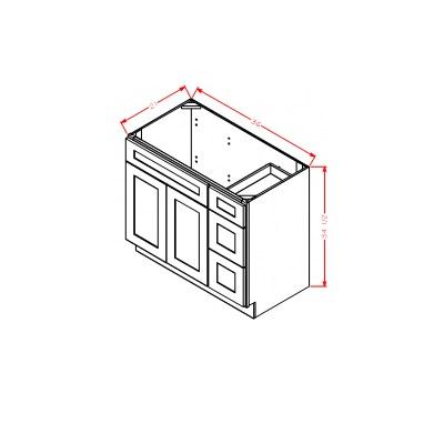 Cabinets, US Cabinet Depot Shaker Antique White US Cabinet Depot Drawer Right  Vanity Base