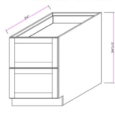 Cabinets, GHI Nantucket Linen GHI-Two-Drawer-Base DB24-2 or DB30-2