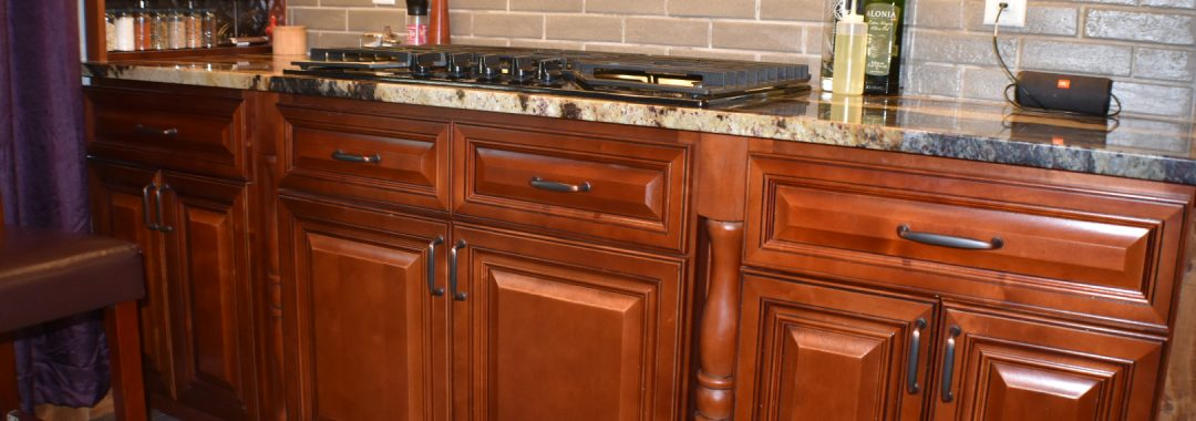 Feather Lodge Grand Reserve Cherry with Spice Rack on Counter