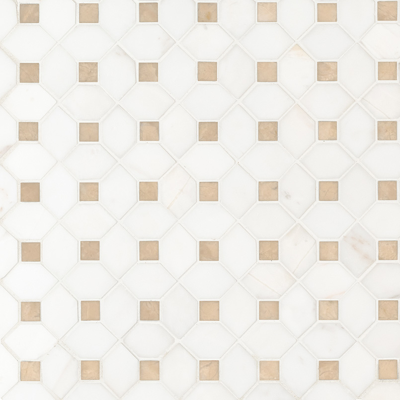 NATURAL STONE MARBLE COLLECTIONS, Tiles and Flooring msi-tiles-flooring-bianco-dolomite-crema-dotty-mosaic-SMOT-BIANDOL-CEMDOTP