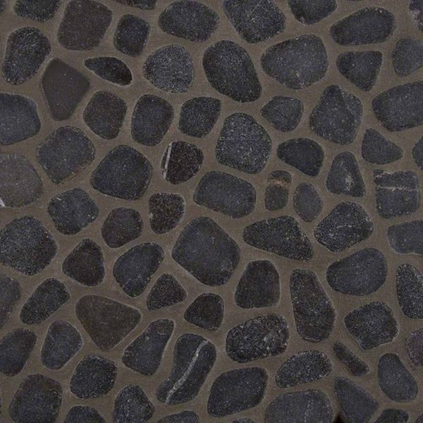 DECORATIVE MOSAICS, RIO LAGO COLLECTION, Tiles and Flooring msi-tiles-flooring-black-pebbles-mesh-backed-SMOT-PEB-BLK