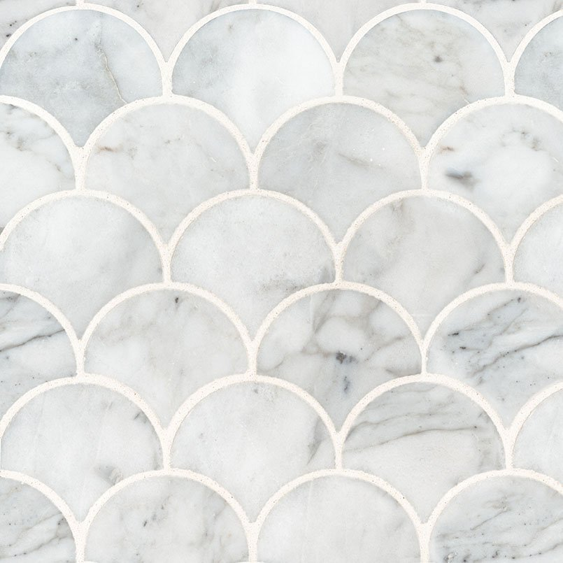 NATURAL STONE MARBLE COLLECTIONS, Tiles and Flooring msi-tiles-flooring-calacatta-blanco-scallop-mosaic-SMOT-CALBLA-SCALOP10MM
