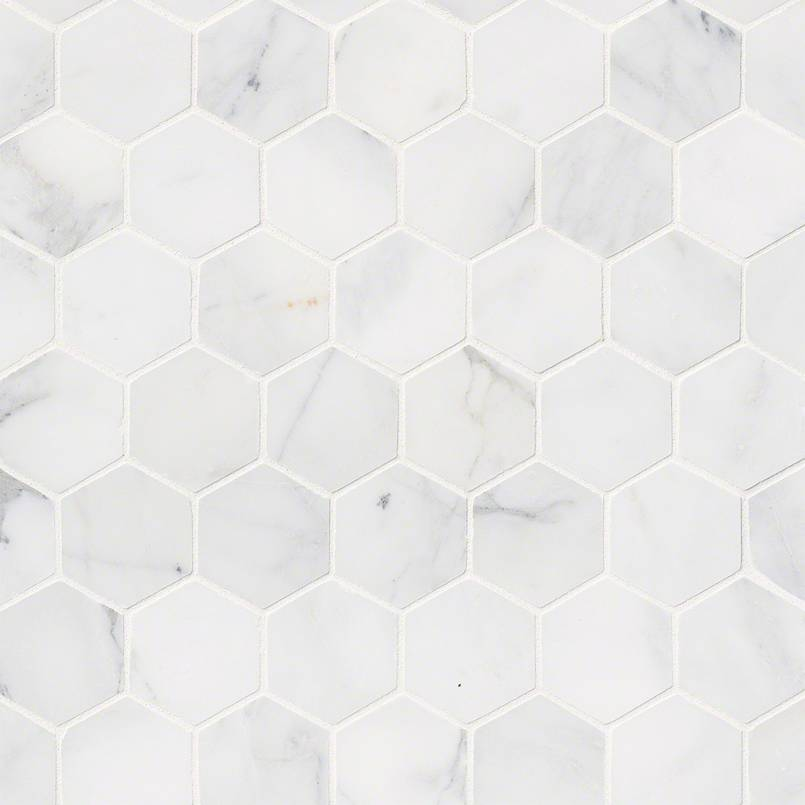 NATURAL STONE MARBLE COLLECTIONS, Tiles and Flooring msi-tiles-flooring-calacatta-cressa-hex-mosaic-SMOT-CALCRE-2HEXH