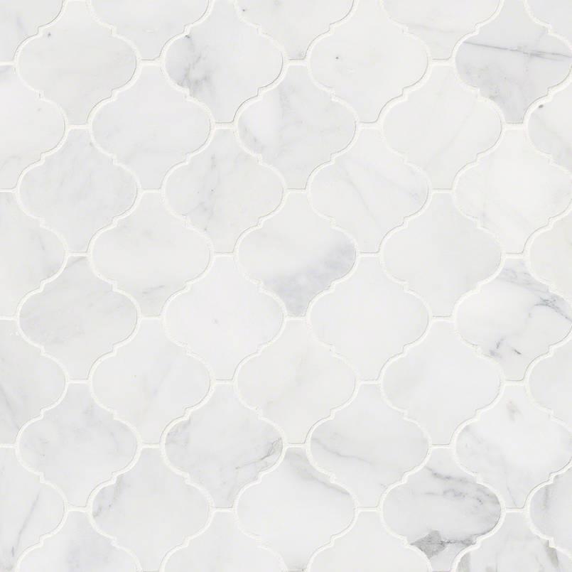 NATURAL STONE MARBLE COLLECTIONS, Tiles and Flooring msi-tiles-flooring-calacatta-cressa-arabesque-mosaic-SMOT-CALCRE-ARABESQ