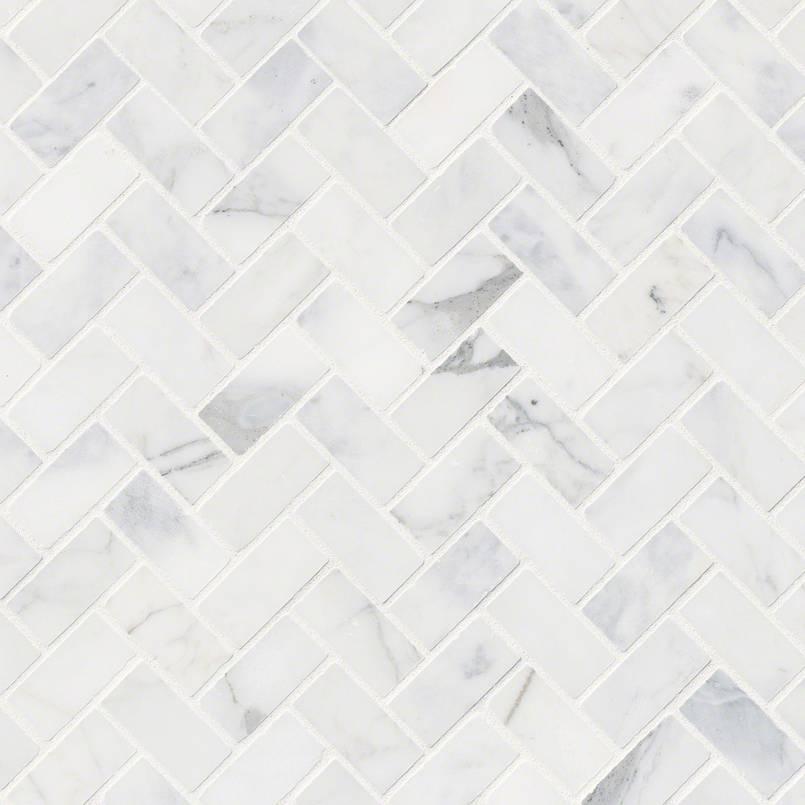 NATURAL STONE MARBLE COLLECTIONS, Tiles and Flooring msi-tiles-flooring-calacatta-cressa-herringbone-mosaic-SMOT-CALCRE-HBH