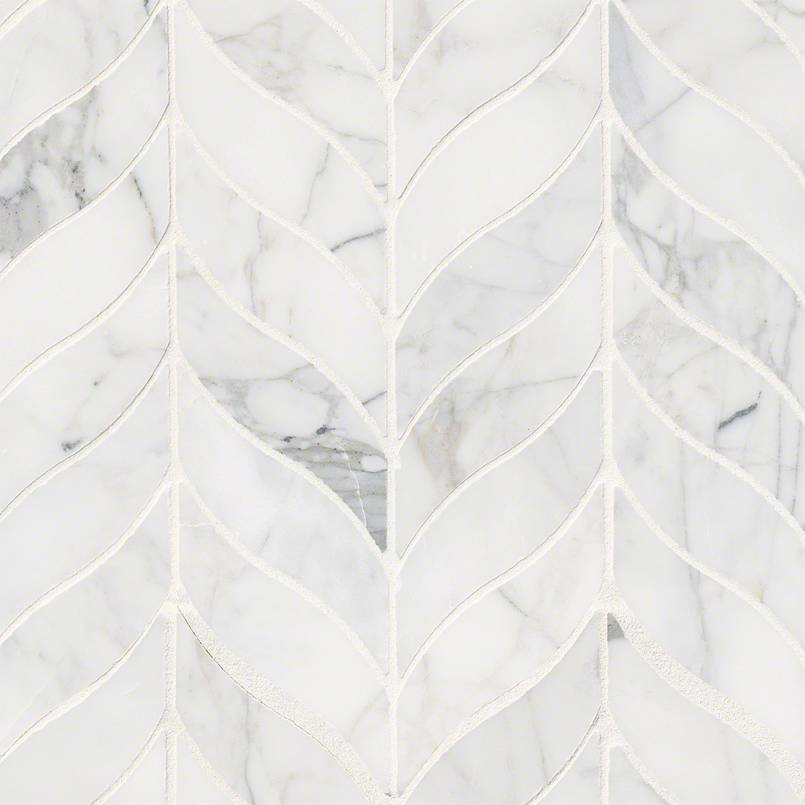 NATURAL STONE MARBLE COLLECTIONS, Tiles and Flooring msi-tiles-flooring-calacatta-cressa-leaf-mosaic-SMOT-CALCRE-LEAFH
