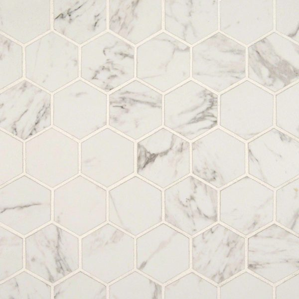PORCELAIN FLOOR TILES, Tiles and Flooring msi-tiles-flooring-pietra-carrara-2x2-hexagon-mosaic-NCAR2X2HEX