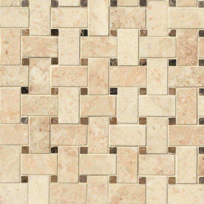 NATURAL STONE MARBLE COLLECTIONS, Tiles and Flooring msi-tiles-flooring-crema-cappuccino-basketweave-mosaic-SMOT-CRECAP-BWP