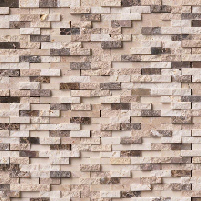 NATURAL STONE MARBLE COLLECTIONS, Tiles and Flooring msi-tiles-flooring-emperador-blend-splitface-mosaic-SMOT-EMPB-SFIL10MM