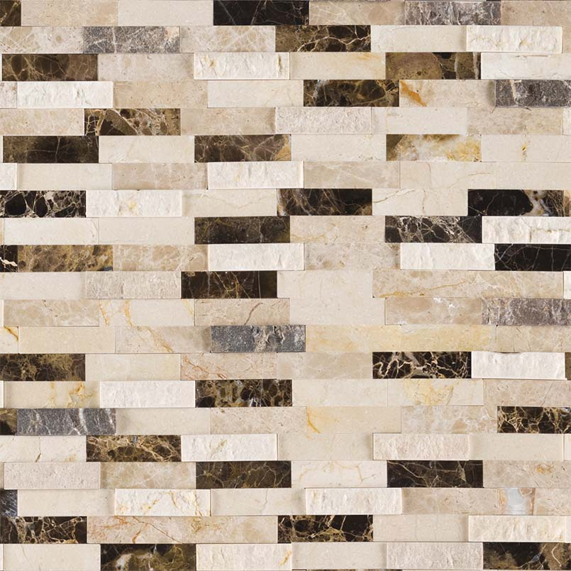 NATURAL STONE MARBLE COLLECTIONS, Tiles and Flooring msi-tiles-flooring-emperador-blend-splitface-peel-and-stick-mosaic-SMOT-PNS-EMPBSF-6MM