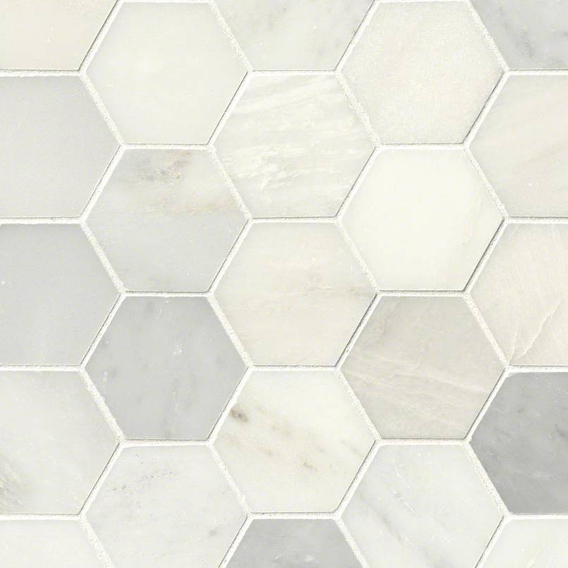 NATURAL STONE MARBLE COLLECTIONS, Tiles and Flooring msi-tiles-flooring-greecian-white-3-hexagon-mosaic-SMOT-GRE-3HEXP