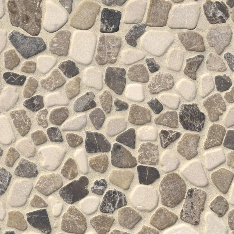 DECORATIVE MOSAICS, RIO LAGO COLLECTION, Tiles and Flooring msi-tiles-flooring-mix-marble-pebbles-mesh-backed-SMOT-PEB-MIXMAR