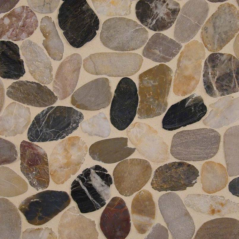 DECORATIVE MOSAICS, RIO LAGO COLLECTION, Tiles and Flooring msi-tiles-flooring-mix-river-pebbles-mesh-backed-SMOT-PEB-MIXRVR