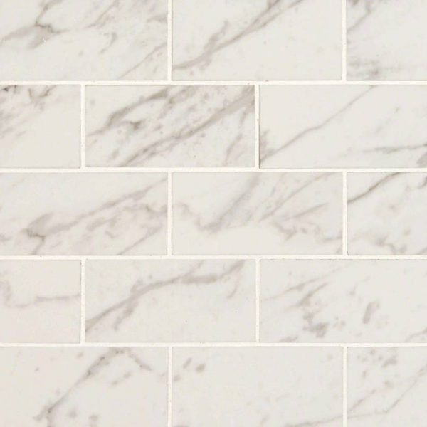 PORCELAIN FLOOR TILES, Tiles and Flooring msi-tiles-flooring-pietra-carrara-2x4-mosaic-polished-2020-NPIECAR2X4P-N