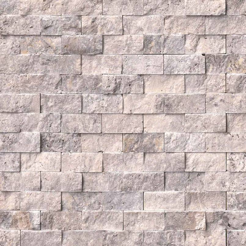 NATURAL STONE TRAVERTINE COLLECTIONS, Tiles and Flooring msi-tiles-flooring-silver-travertine-1x2-splitface-mosaic-SMOT-SILTRA-1X2SF