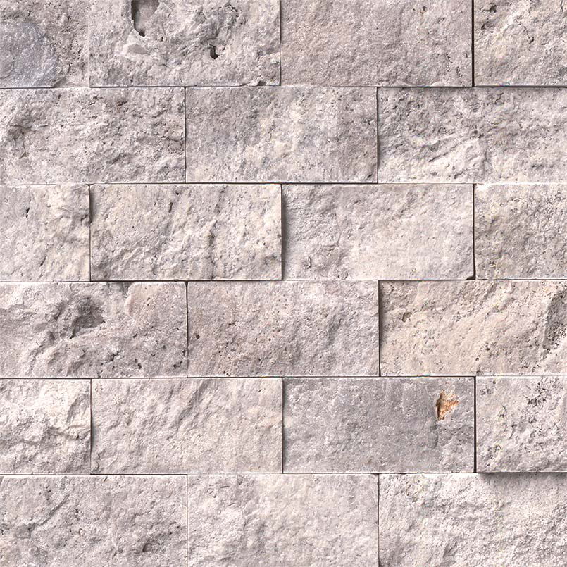 NATURAL STONE TRAVERTINE COLLECTIONS, Tiles and Flooring msi-tiles-flooring-silver-travertine-2x4-splitface-mosaic-SMOT-SILTRA-2X4SF