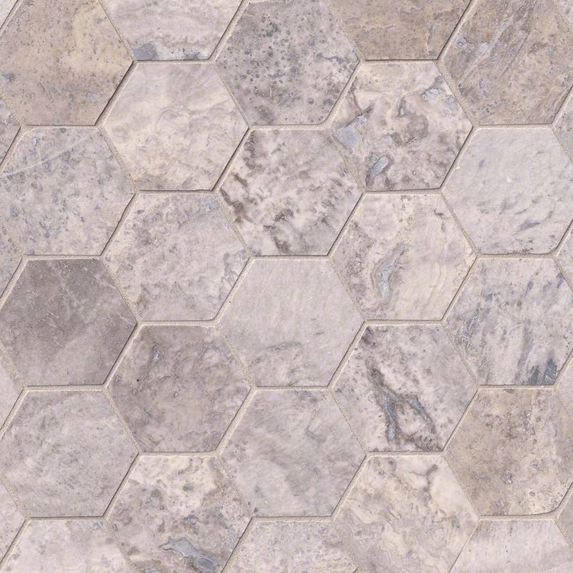 NATURAL STONE TRAVERTINE COLLECTIONS, Tiles and Flooring msi-tiles-flooring-silver-travertine-3-hexagon-mosaic-SMOT-SILTRA-3HEXH