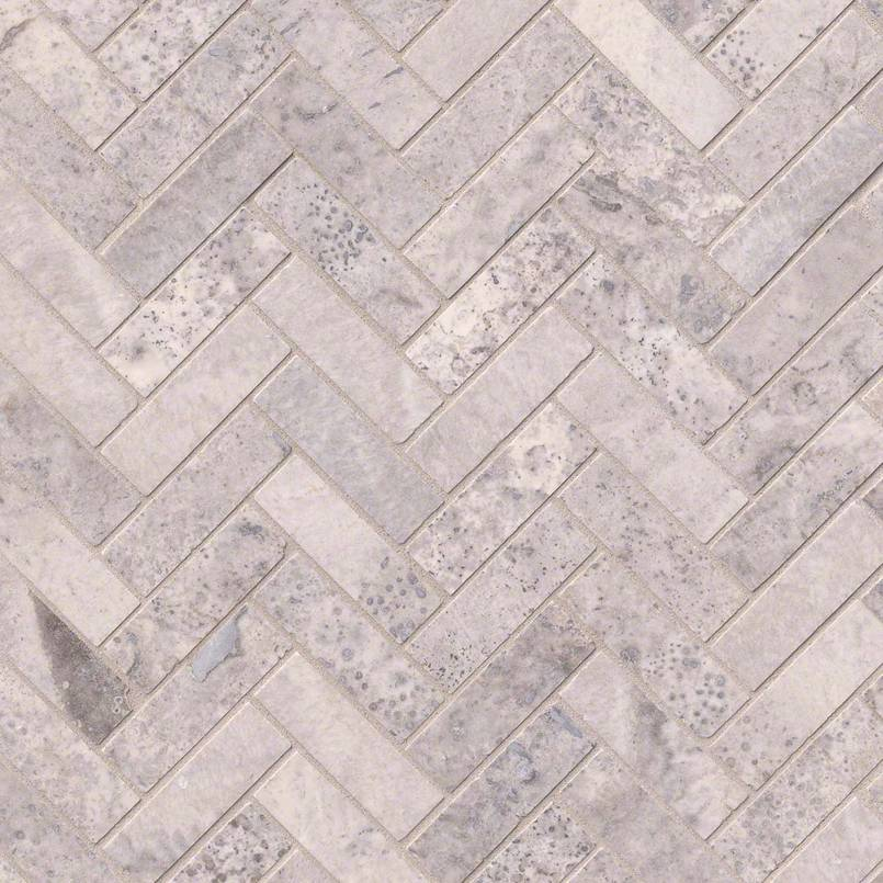 NATURAL STONE TRAVERTINE COLLECTIONS, Tiles and Flooring msi-tiles-flooring-silver-travertine-herringbone-mosaic-SMOT-SILTRA-HBH