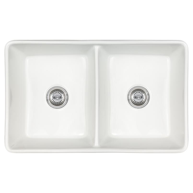 Sinks -porcelain-fireclay-farmhouse-with-apron-db-white-3220-SIN-POR-UDBWH5050-3220FSAF