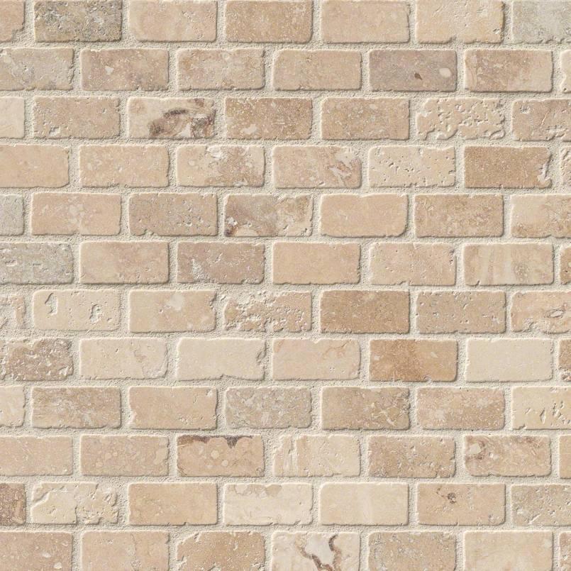NATURAL STONE TRAVERTINE COLLECTIONS, Tiles and Flooring msi-tiles-flooring-chiaro-brick-mosaic-THDW3-SH-CHBRI1X2T