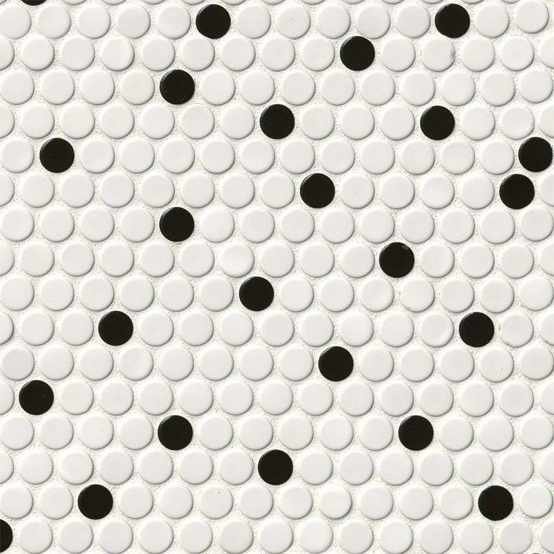 DECORATIVE MOSAICS, DOMINO COLLECTION, Tiles and Flooring msi-tiles-flooring-white-and-black-glossy-penny-round-NWHIBLAPENROU