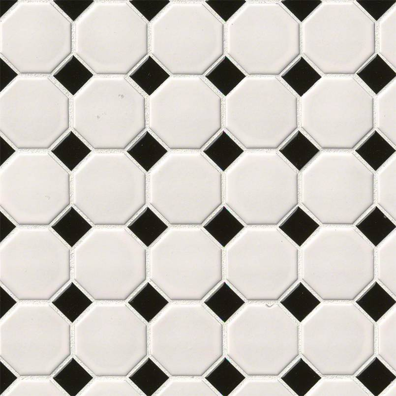 DECORATIVE MOSAICS, DOMINO COLLECTION, Tiles and Flooring msi-tiles-flooring-white-and-black-octagon-NWHIBLAOCT