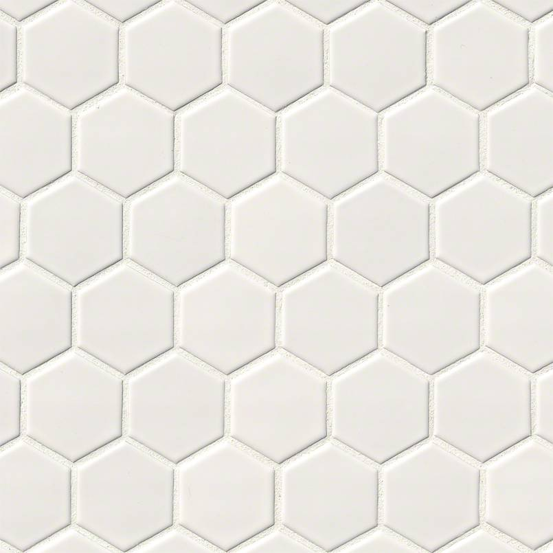 DECORATIVE MOSAICS, DOMINO COLLECTION, Tiles and Flooring msi-tiles-flooring-white-glossy-2x2-hexagon-NWHIHEX2X2G