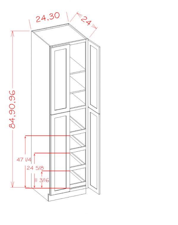 US Cabinet Depot Shaker Cinder cabinets-us-cabinet-depot-shaker-cinder-four-door-utility-four-rollout-shelf-cabinet-kit-3-U-SC-U2496244RS