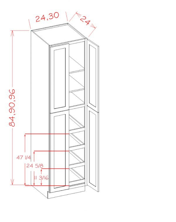 US Cabinet Depot Shaker Dove cabinets-us-cabinet-depot-shaker-dove-four-door-utility-four-rollout-shelf-cabinet-kit-3-U-SD-U2496244RS