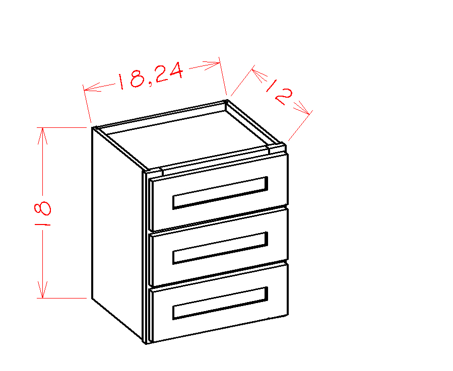 US Cabinet Depot Shaker Grey cabinets-us-cabinet-depot-shaker-grey-three-drawer-tower-stacking-cabinet-U-SG-W3D24