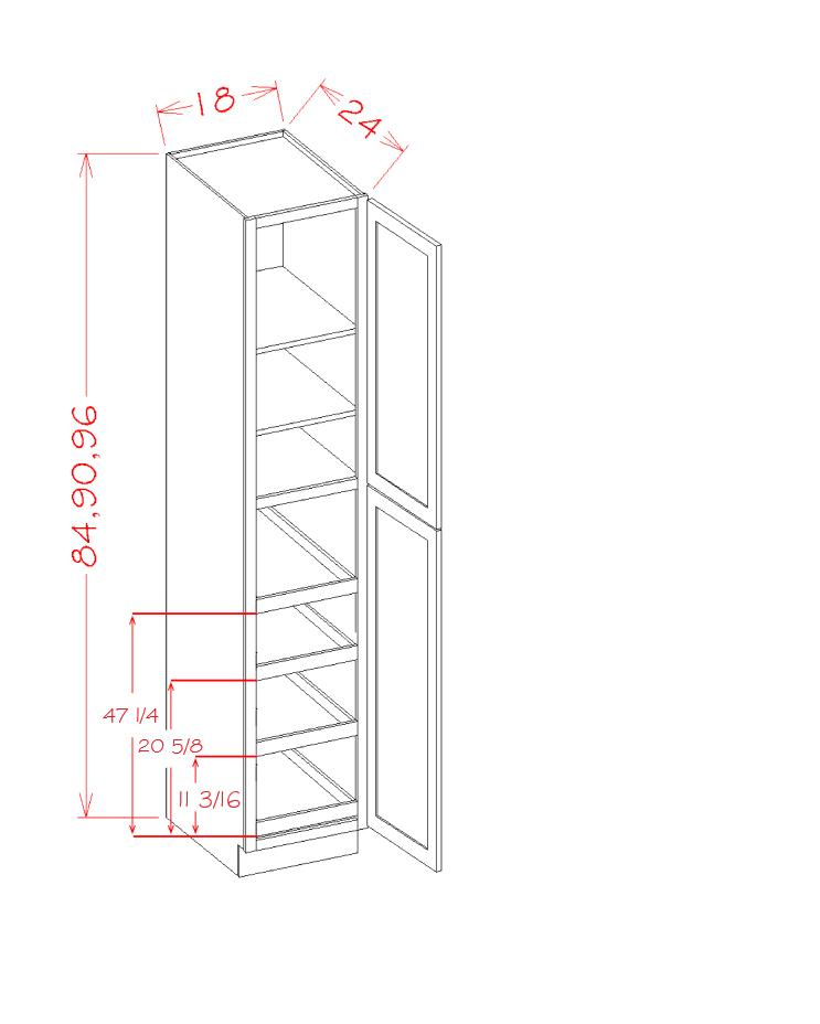 US Cabinet Depot Shaker Grey cabinets-us-cabinet-depot-shaker-grey-two-door-utility-four-rollout-shelf-cabinet-kit-U-SG-U1896244RS