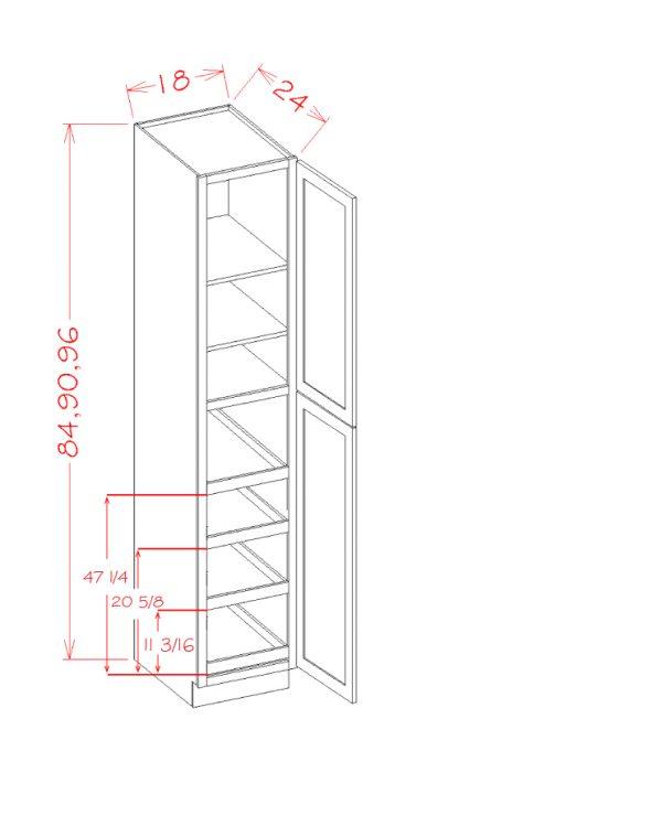 US Cabinet Depot Torrance White cabinets-us-cabinet-depot-torrance-white-two-door-utility-four-rollout-shelf-cabinet-kit-U-TW-U1896244RS