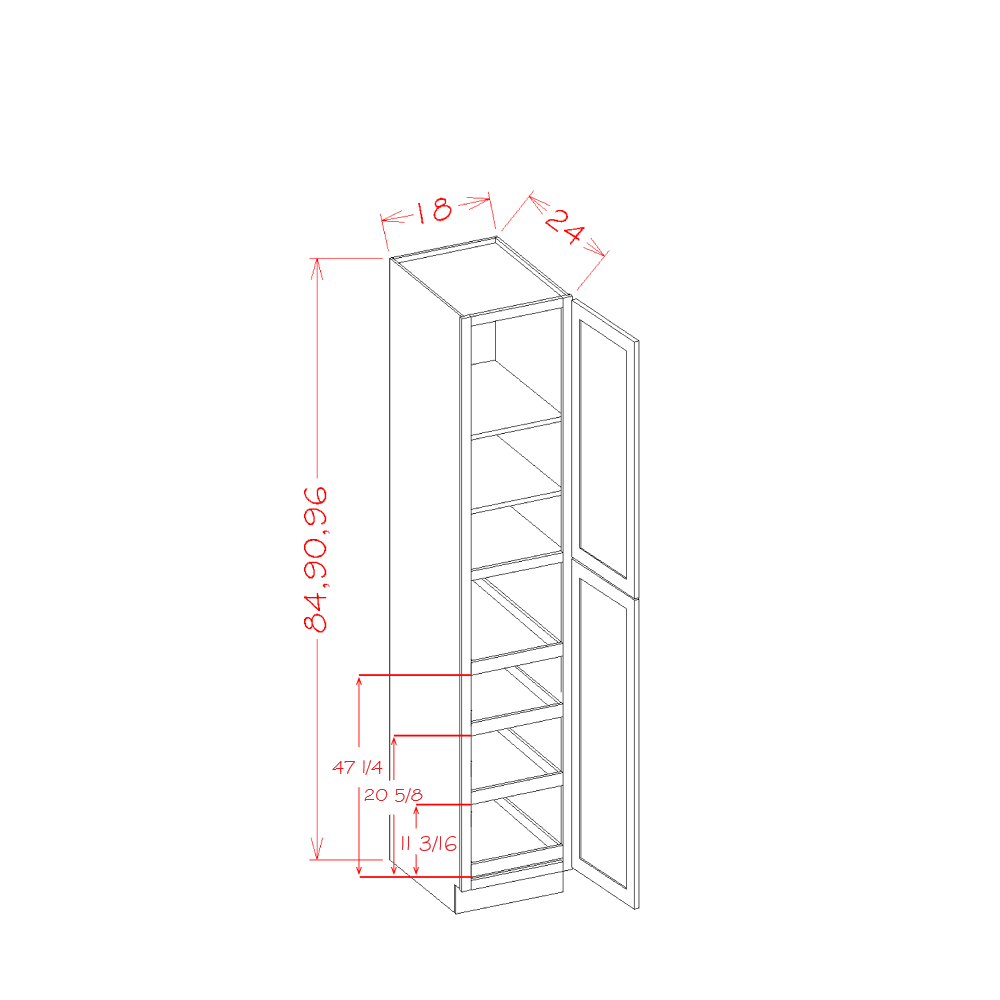 Cabinets, US Cabinet Depot Shaker Dove cabinets-us-cabinet-depot-shaker-dove-accessory-tall-cabinet-four-door-utility-four-rollout-shelf-cabinet-kit-18w-x-24d-x-84h-U-SD-U1884244RS