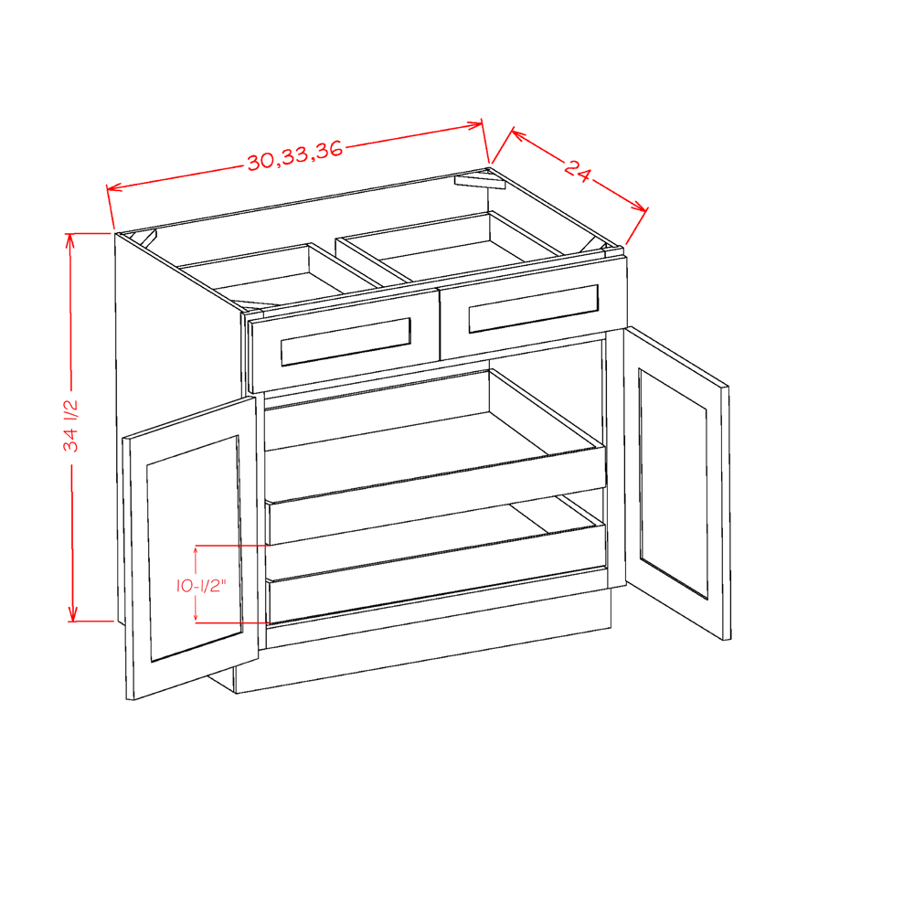 Cabinets, US Cabinet Depot Shaker Cinder cabinets-us-cabinet-depot-shaker-white-double-door-double-drawer-two-rollout-shelf-base-kit-30w-x-24d-x-34-1-2h-U-SW-B302RS