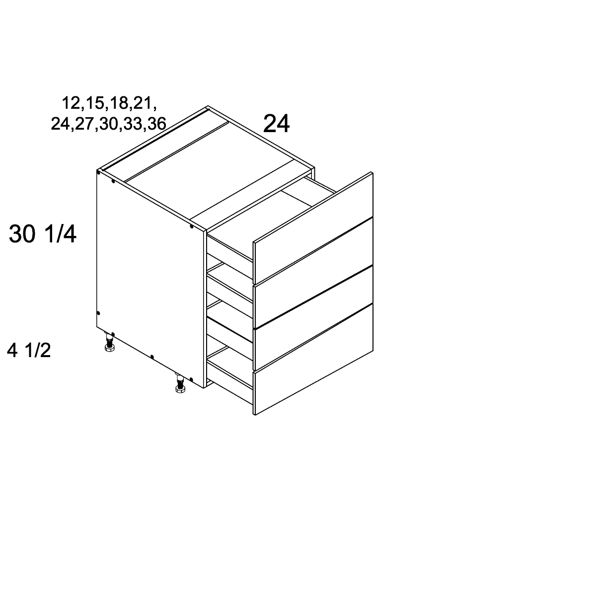 Cabinets, US Cabinet Depot Verona Pure Blank cabinets-us-cabinet-depot-torino-dark-wood-four-drawer-base-blum-12w-x-24d-x-30-1-4h-TDW-4DB12-BLUM