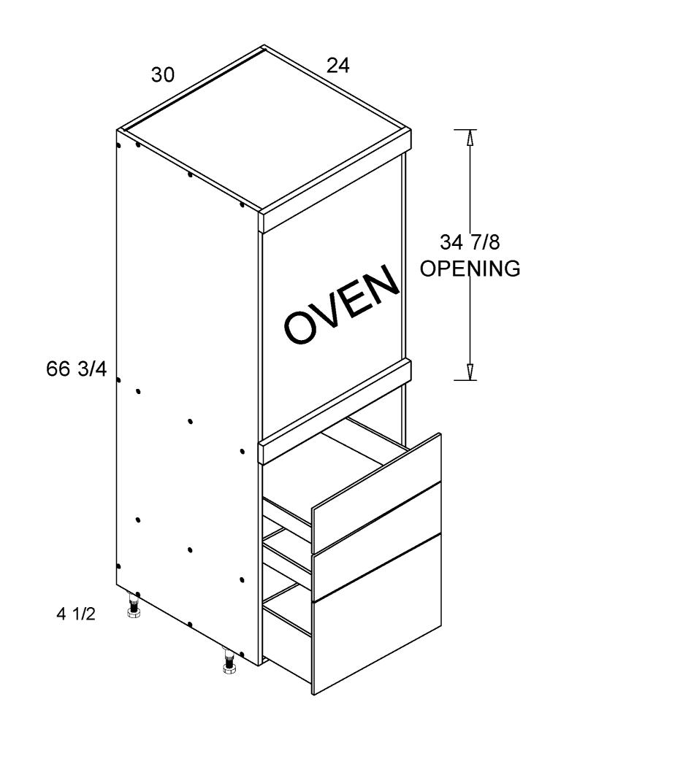 Cabinets, US Cabinet Depot Palermo Gloss White cabinets-us-cabinet-depot-palermo-gloss-white-tall-single-oven-three-drawer-utility-blum-30w-x-24d-x-72h-PGW-TOS3DB3072-BLUM