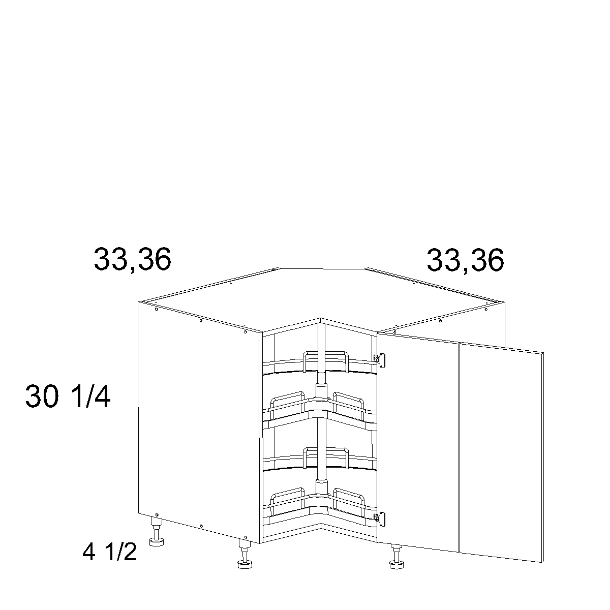 Cabinets, US Cabinet Depot Verona Pure Blank cabinets-us-cabinet-depot-riviera-conch-shell-base-easy-reach-with-lazy-susan-tray-33w-x-30-1-4h-RCS-LSB33
