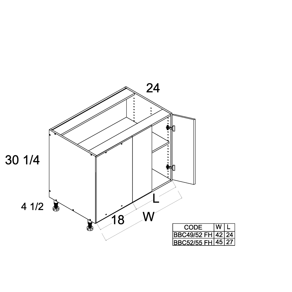 Cabinets, US Cabinet Depot Verona Midnight Navy cabinets-us-cabinet-depot-riviera-conch-shell-full-height-two-door-blind-base-42w-x-24l-x-24d-x-30-1-4h-RCS-BBC49/52FH