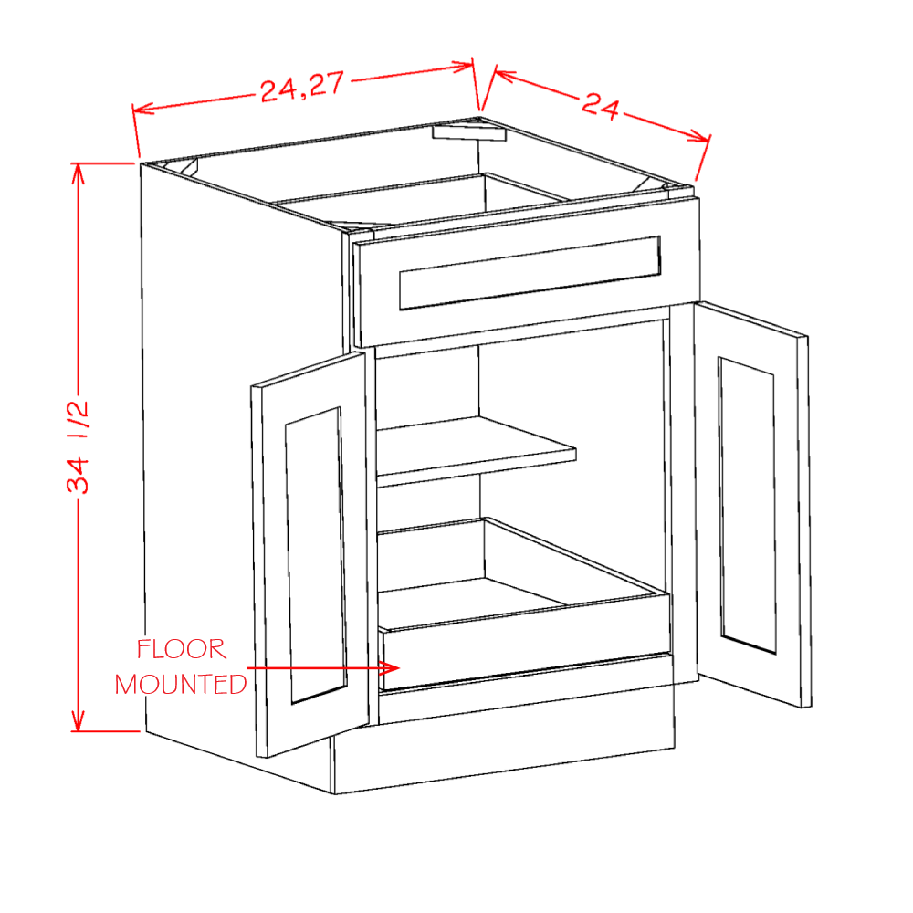 Cabinets, US Cabinet Depot Casselberry Saddle cabinets-us-cabinet-depot-shaker-white-double-door-single-drawer-one-rollout-shelf-base-kit-24w-x-24d-x-34-1-2h-U-SW-B241RS