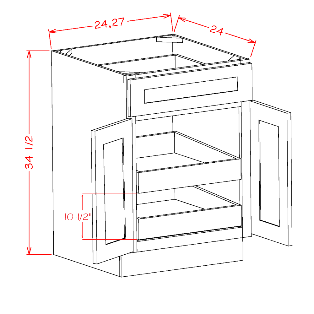 Cabinets, US Cabinet Depot Casselberry Saddle cabinets-us-cabinet-depot-shaker-white-double-door-single-drawer-two-rollout-shelf-base-kit-24w-x-24d-x-34-1-2h-U-SW-B242RS