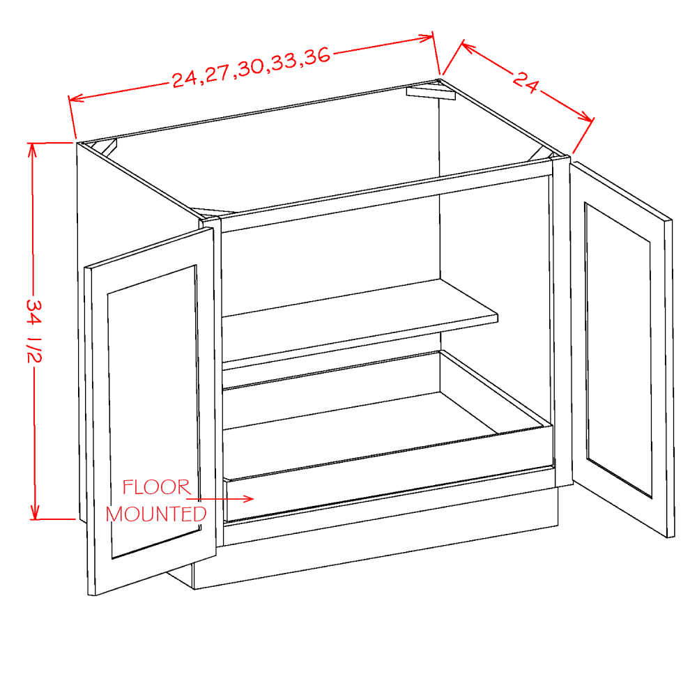 Cabinets, US Cabinet Depot Torrance White cabinets-us-cabinet-depot-shaker-white-double-full-height-door-one-rollout-shelf-base-kit-24w-x-24d-x-34-1-2h-U-SW-B24FH1RS